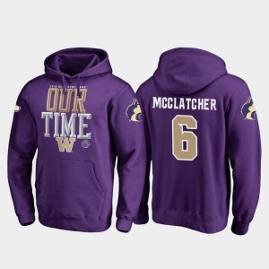 2019 Rose Bowl Bound For Men Chico McClatcher UW Huskies Hoodie #6 Purple Fanatics Branded Counter
