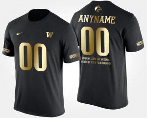 #00 Washington Huskies Customized T-Shirts Short Sleeve With Message Gold Limited Black For Men