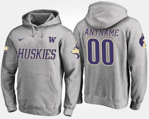 Name and Number Men's Washington Customized Hoodie #00 Gray