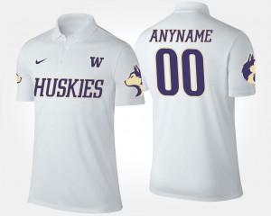 White Mens #00 Washington Huskies Custom Polo Name and Number