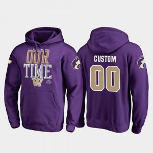 Purple 2019 Rose Bowl Bound Washington Huskies Custom Hoodie #00 Fanatics Branded Counter Mens