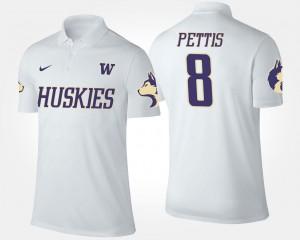 For Men's White Dante Pettis University of Washington Polo Name and Number #8
