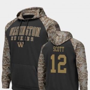 #12 Men's Charcoal J.K. Scott University of Washington Hoodie United We Stand Colosseum Football