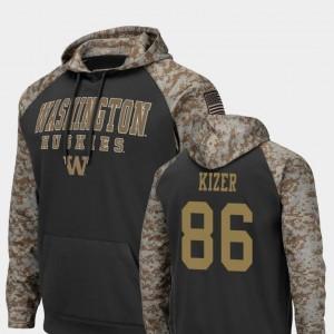 Jacob Kizer Washington Huskies Hoodie #86 Colosseum Football Mens Charcoal United We Stand