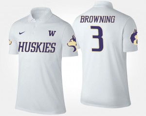 White Name and Number Jake Browning UW Huskies Polo Men's #3