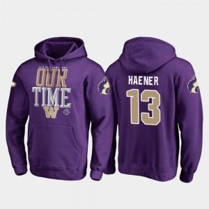 Fanatics Branded Counter #13 2019 Rose Bowl Bound For Men's Purple Jake Haener UW Hoodie