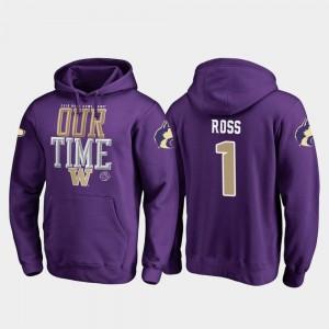 Purple Fanatics Branded Counter Men's #1 John Ross UW Huskies Hoodie 2019 Rose Bowl Bound