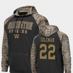 Men's United We Stand #22 Colosseum Football Charcoal Lavon Coleman Washington Hoodie