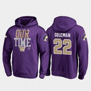 #22 2019 Rose Bowl Bound Lavon Coleman UW Hoodie For Men Purple Fanatics Branded Counter