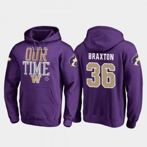 Malik Braxton UW Hoodie 2019 Rose Bowl Bound Mens Purple Fanatics Branded Counter #36