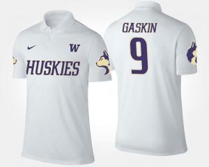 #9 Name and Number Myles Gaskin Washington Huskies Polo White Men