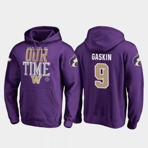 For Men's #9 Purple Fanatics Branded Counter Myles Gaskin UW Hoodie 2019 Rose Bowl Bound