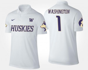 UW Polo White #1 Name and Number No.1 Short Sleeve Men
