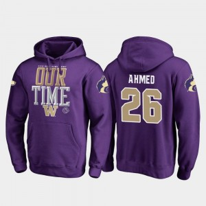 Mens #26 Salvon Ahmed Washington Hoodie Purple Fanatics Branded Counter 2019 Rose Bowl Bound