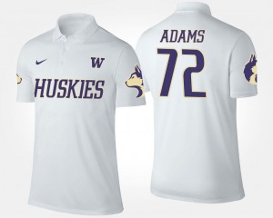 Trey Adams UW Polo Men White #72 Name and Number