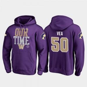 For Men Fanatics Branded Counter Purple Vita Vea University of Washington Hoodie 2019 Rose Bowl Bound #50