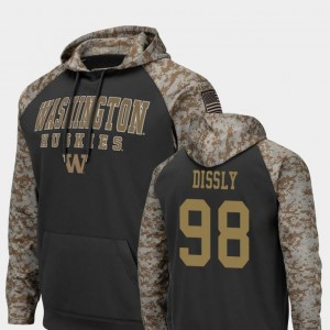 For Men #98 Colosseum Football Will Dissly University of Washington Hoodie Charcoal United We Stand
