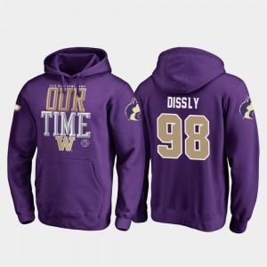 Fanatics Branded Counter Will Dissly Washington Hoodie 2019 Rose Bowl Bound #98 Men's Purple