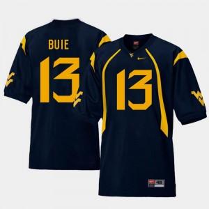 College Football #13 Andrew Buie Mountaineers Jersey Mens Navy Replica