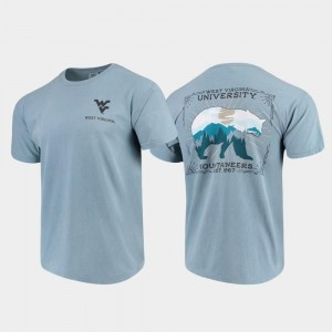 Blue Comfort Colors State Scenery For Men's WVU T-Shirt