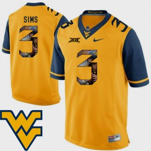 Football Charles Sims West Virginia Mountaineers Jersey #3 Pictorial Fashion Gold Men