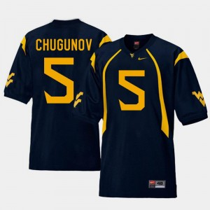 Replica For Men's #5 Navy Chris Chugunov West Virginia Mountaineers Jersey College Football
