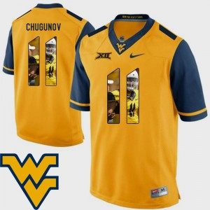 Chris Chugunov West Virginia Mountaineers Jersey Pictorial Fashion For Men Football #11 Gold