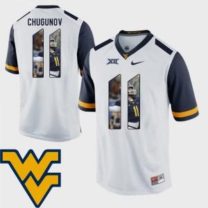 #11 White Men's Pictorial Fashion Football Chris Chugunov West Virginia Mountaineers Jersey