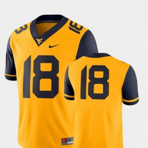 2018 Game Nike Gold College Football Mountaineers Jersey #18 Mens
