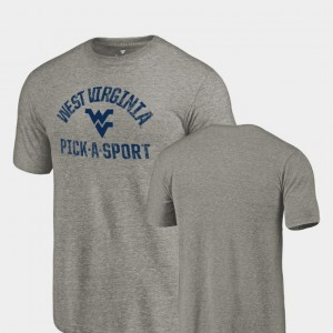 Mountaineers T-Shirt For Men's Tri Blend Distressed Gray Pick-A-Sport