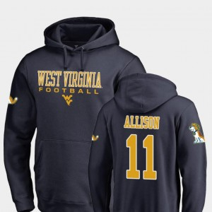 Mens True Sport #11 Navy Jack Allison West Virginia Mountaineers Hoodie Fanatics Branded Football