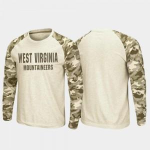 OHT Military Appreciation Men's Raglan Long Sleeve Desert Camo Mountaineers T-Shirt Oatmeal
