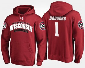 University of Wisconsin Hoodie For Men's No.1 #1 Name and Number Red