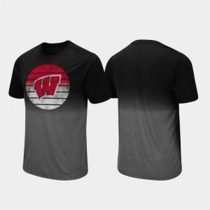 Fancy Walking Dip Dye Wisconsin Badgers T-Shirt Men Black