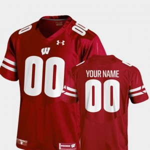 College Football For Men's Wisconsin Custom Jersey 2018 TC Under Armour #00 Red