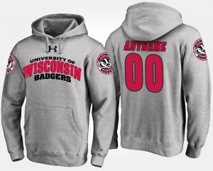 For Men's Name and Number Gray Wisconsin Badgers Custom Hoodie #00