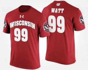 Name and Number #99 J.J. Watt Wisconsin Badgers T-Shirt Red Men's