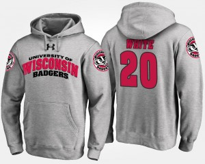 Gray Men's Name and Number #20 James White Wisconsin Badgers Hoodie