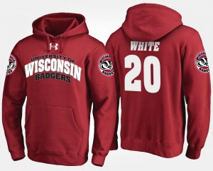 Mens James White University of Wisconsin Hoodie Red Name and Number #20