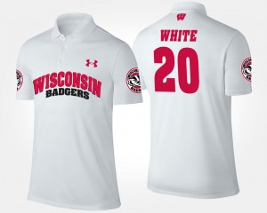 For Men's Name and Number White James White UW Polo #20