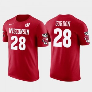 Future Stars Melvin Gordon University of Wisconsin T-Shirt Mens #28 Red Los Angeles Chargers Football