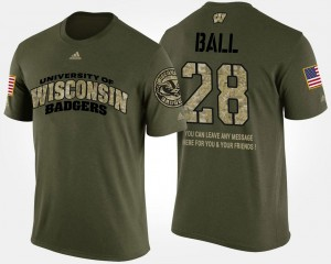 Montee Ball Wisconsin T-Shirt Military Short Sleeve With Message Men #28 Camo
