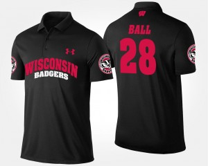 #28 Black Montee Ball Wisconsin Badgers Polo Name and Number For Men