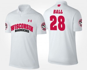 Montee Ball Wisconsin Badgers Polo White #28 For Men Name and Number