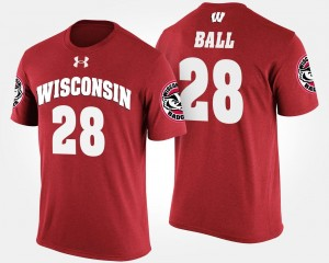 #28 For Men's Red Name and Number Montee Ball Wisconsin Badgers T-Shirt