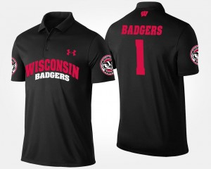 Black Wisconsin Polo #1 No.1 Short Sleeve Name and Number Men's