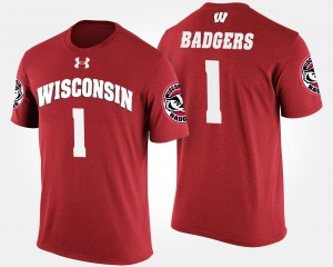 Wisconsin Badgers T-Shirt Men #1 No.1 Short Sleeve Red Name and Number