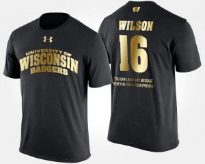 Mens Russell Wilson Wisconsin Badgers T-Shirt Black Short Sleeve With Message Gold Limited #16