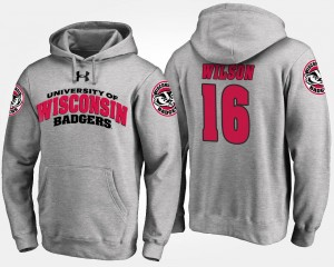 #16 Men's Gray Russell Wilson Wisconsin Badgers Hoodie Name and Number