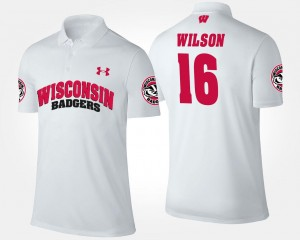 White #16 Name and Number Men's Russell Wilson Wisconsin Badgers Polo